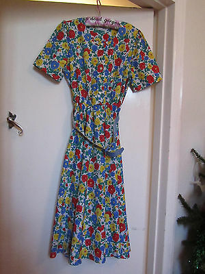 Multicoloured Floral Vintage early 80s M&S Dress in Size 12 Long / Tall - unused