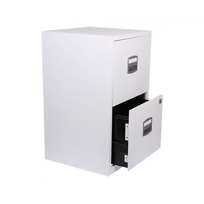 White Metal Filing Cabinet Lockable A4 Suspension Files 2 Drawer Home Office