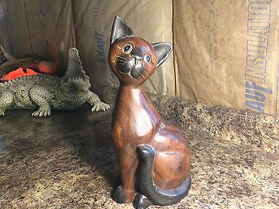 Vintage Solid Wood Hand Carved Siamese Cat