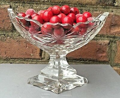 Antique 19th Century Anglo Irish Cut Crystal Fruit Compote Bowl