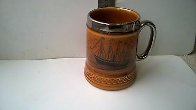 Vintage Lord Nelson Pottery souvenir tankard with silvered rim SS Great Britain