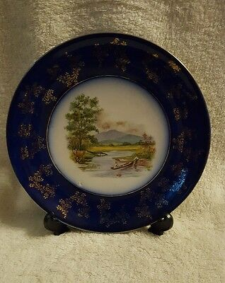 Trent Wood & Son Semi Porcelain Plate With Lake & Boat Decoration & Gold Gilding