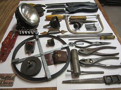 Old Vintage Tool Lot 30+ Tools Pliers Wrench Hand Tools Driver Leather Awl Punch