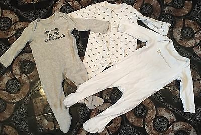 Boys Or Girls Baby Grows Sleepsuits Size 9-12 Months X3