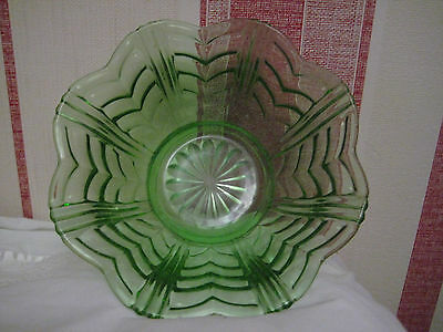 Large Pressed Green Glass Deco Bowl Textured