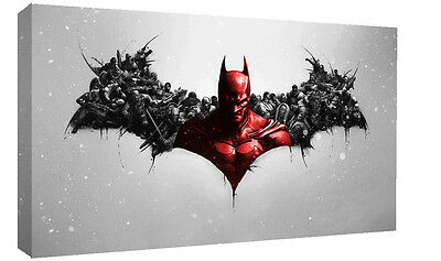 Black & Red Batman Film Characters Art on CANVAS WALL ART Picture Print