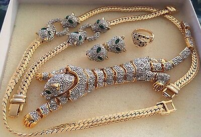 Suzanne Somers Panther Jewelry Set Rhinestone Leopard Brooch, Bracelet, Ring, Nr