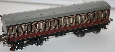 HORNBY SERIES O GAUGE No 2 PASSERGER COACH IN LMS RED LIVERY