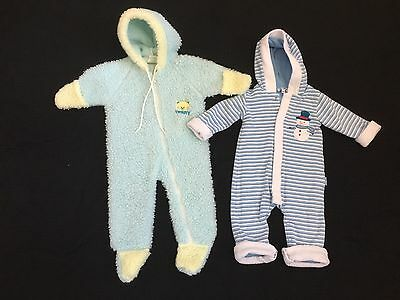 Lot Of Baby Infant Boy Bunting Winter Suit, Size 0-6 Months