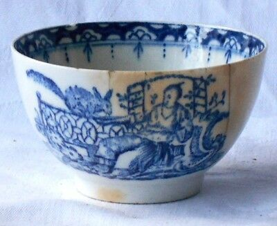 C18Th Lowestoft Blue And White Tea Bowl 'woman With Squirrel' Pattern A/f