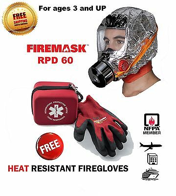 FIREMASK Emergency Escape Mask & Heat Resistant FIREGLOVES- 5 year shelf life...