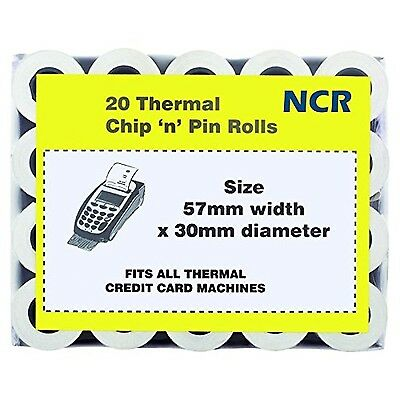 NCR 57 x 30mm Chip and PIN Till Rolls - 20 Rolls