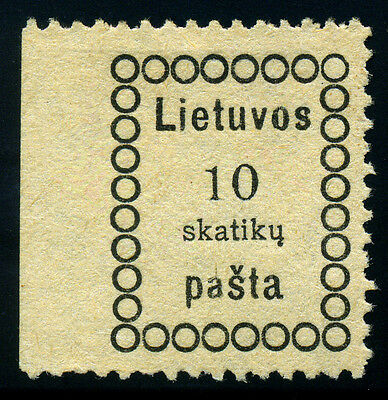 Lithuania. Lietuva. 1918. 10sk. Black. SC# 1. Thin Figures. Signed. XF