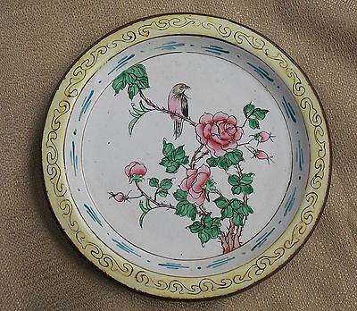 Great Chinese Wireless Cloisonne Enamel Plate With Flowers & Bird