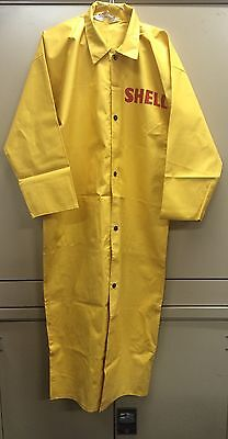 Vintage SHELL Oil Yellow Rubber Coat (Orchid Brand) Sz 50