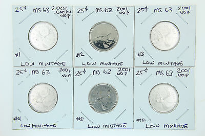 Canada 25 Cent Quarter Collection - 2001 No P Low Mintage Uncirculated See Grade