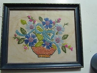 """Pair Of Blue Framed Embroidered Linen Floral Prints Frames Are 9"""" By 11"""" Awesome"""