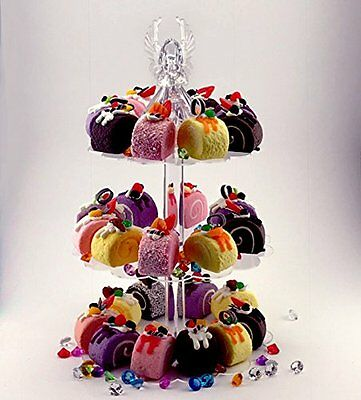 Clear Acrylic 3-Tier Cupcake Stand Birthday Wedding Special Event Cake Pastry