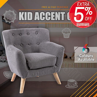 Kids Accent Chair Fabric Wooden Lorraine French Sofa Armchair Couch Lounge Grey