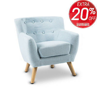 Kids Accent Chair Fabric Wooden Lorraine French Sofa Armchair Couch Lounge Blue