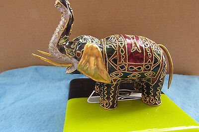 """Chinese Manual Wire Inlay Cloisonne Elephant Figurine 3 1/2"""" X 4"""" Exquisite;as6"""