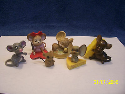 Collectible  Lot Of 6 Mouse Figurines Lefton Hong Kong Napcoware