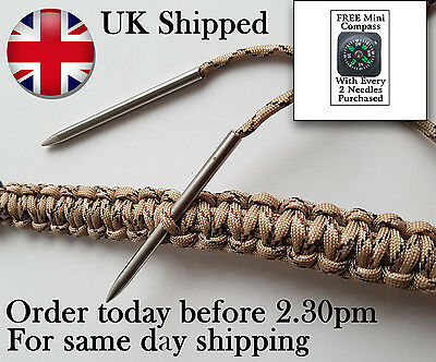 Pack of 2 Paracord Needles for Weaving + 1 FREE Compass