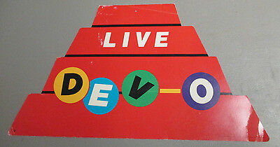 """DEVO Hat LIVE Promotional in-store display 1981 window hanging RARE 22""""W X 12""""H"""