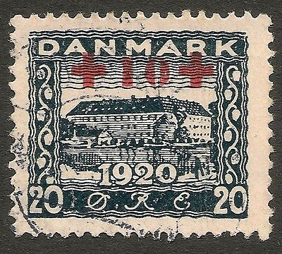 "DENMARK 1921 Surcharge / ""Red Cross"" ovpt. -10 on 20 ore blue VFU Facit 200"