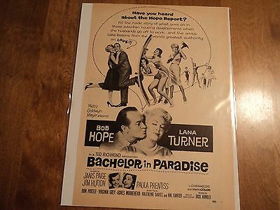 Rare 1961 Bachelor In Paradise Movie Ad 8 X 11 Comedy Hope Turner