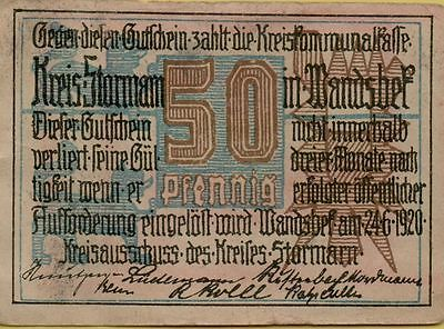 1920 Germany Stormarn 50pf  Notgeld circulated