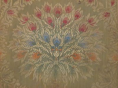 LOVELY! Antique Art Nouveau Peacock Doily Square in Brocade or Jacquard Weave