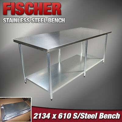 2134mm x 610mm NEW STAINLESS STEEL FOOD GRADE #304 COMMERCIAL KITCHEN BENCH