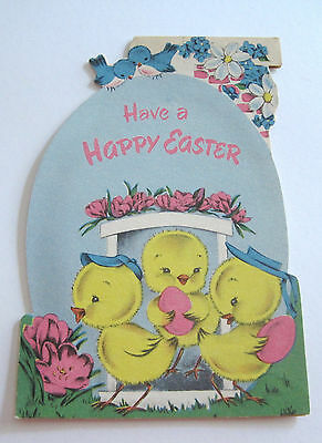 Used Vtg Greeting Card Cute Chicks by Door of Easter Egg House w Bluebirds