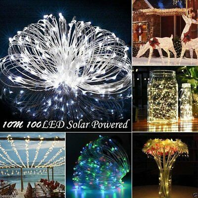 Solar Powered Waterproof 10M 100LED Copper Wire Outdoor String Fairy Party Light