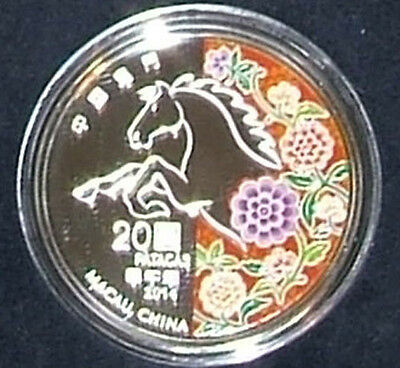 Macau  / Macao 2014 Lunar Year of The Horse Colorized Silver Proof Coin
