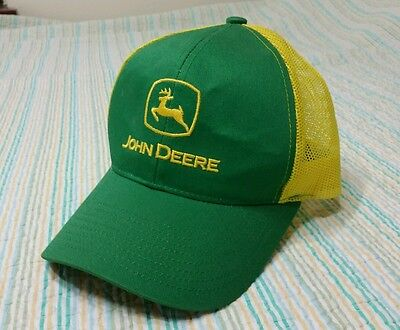 John Deere Patch Trucker Snap Back Hat Vintage Green And Yellow Mesh