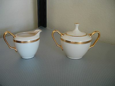 """Lenox """"Tuxedo"""" Sugar with Lid and Creamer Gold Encrusted Gold Backstamp J33"""