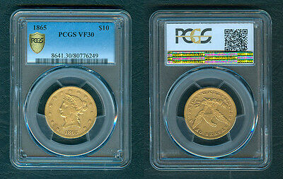1865 $10 Dollars US Gold Libery Head RARE DATE coin - PCGS VF30