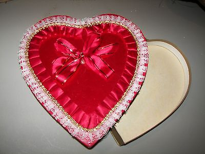 Vintage Valentine Red Heart Shape Candy Box = Very Good Condition  - Collectible
