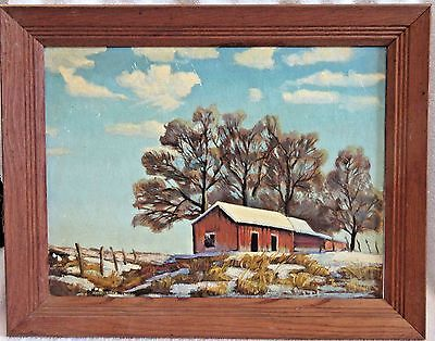 Vintage Original Signed Framed Oil Painting - Rustic/Bucolic Winter Scene