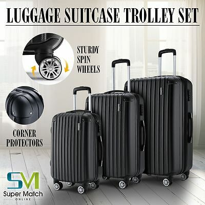 3Pcs Luggage Travel Set Bag ABS Trolley Spinner Carry On Suitcase Lock Black
