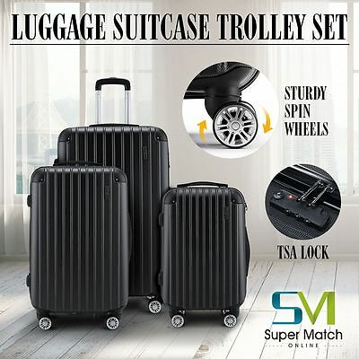 3PCS ABS Luggage Set Travel Hardshell Spinner Suitcase Carry on w/TSA Lock Black
