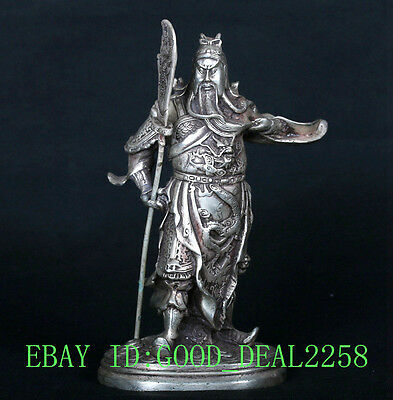 Chinese Silver Copper Handwork Guangong Statue CSY662