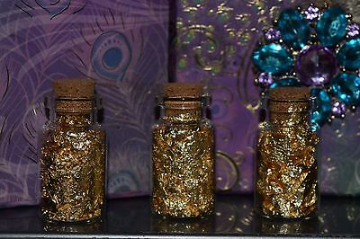 3 small glass bottles of Top Quality Alaskan Gold Leaf Flakes. Possible bonus