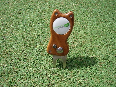 retractable golf divot / pitch tool world first from timber Mahogany colour