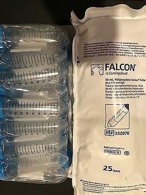 *FREE SHIPPING* BD Falcon 352070 Sterile 50mL PP Conical Centrifuge Tubes 25 ct