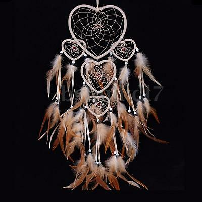 Native American Indian Feather Heart Dream Catcher Wall Hanging Home Ornament