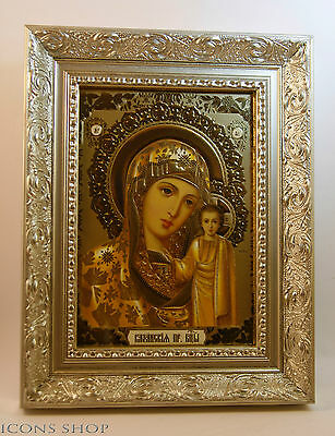 Mother of Jesus Christ Our Lady of Kazan  Icon In Silver Frame Б Казанска