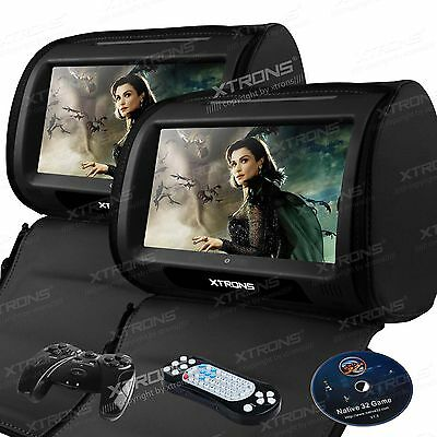 "2x 9"" Car Headrest Pillow DVD Player Game FM AM Digital Touch Screen Black Gift"
